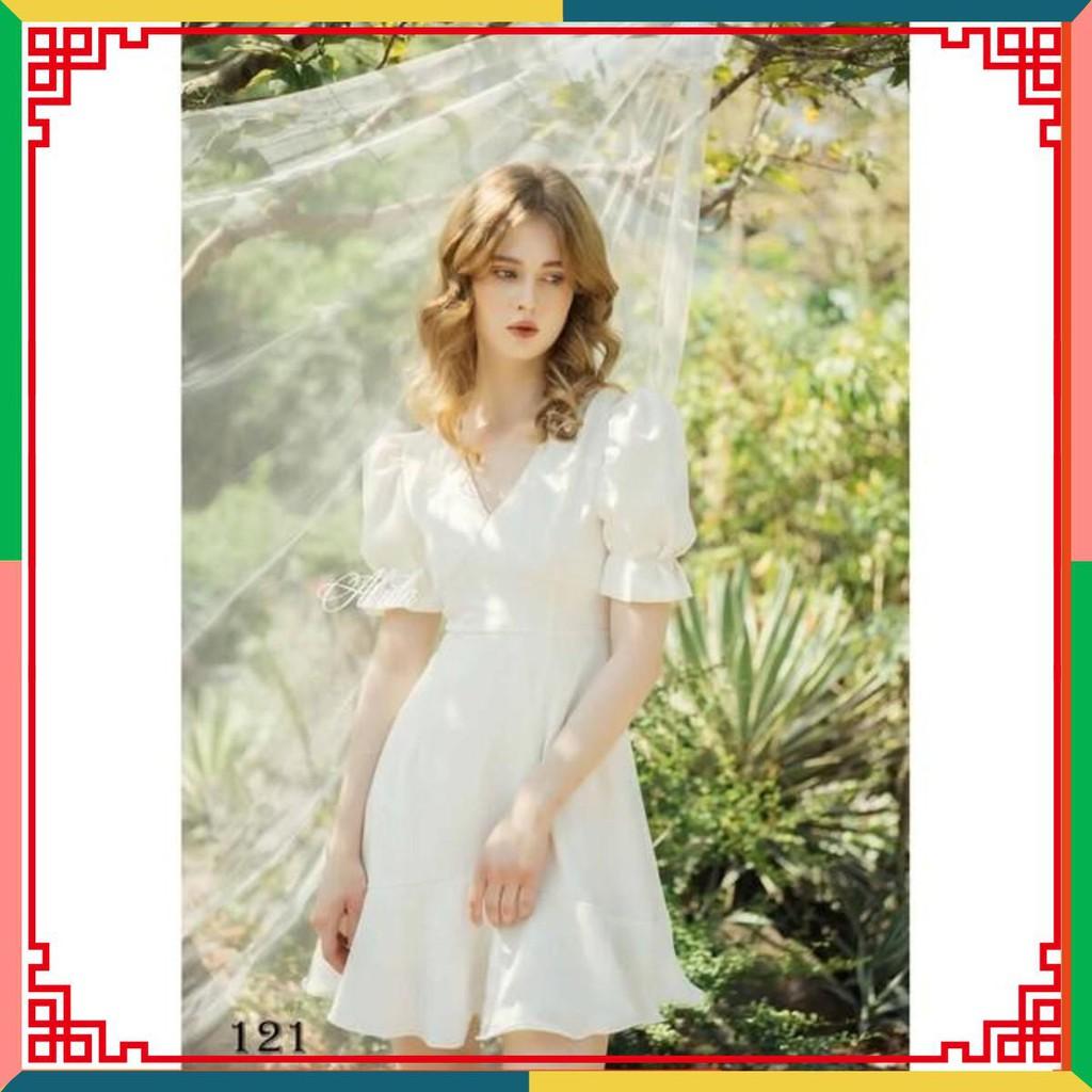 Váy đầm công chúa dáng chứ A tay bồng cổ tim màu trắng chất mango thiết kế cao cấp ( ảnh thật ) alula VTK .!