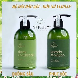 [VIJULLY COSMETIC]-Dầu gội bưởi và dầu xả dừa hoa cúc ViJully giảm rụng, phục hồi và nuôi dưỡng mái tóc thumbnail