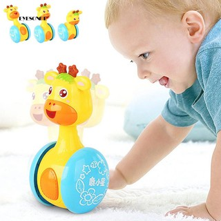 ♕Baby Cute Cartoon Deer Rattles Tumbler Doll Toy Bell Music Learning Education
