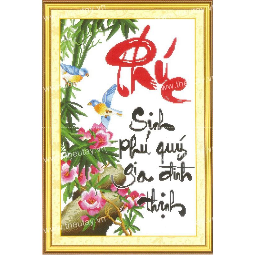 Tranh thêu chữ thập Phúc Sinh Phú Quý Gia Đình Thịnh 222369