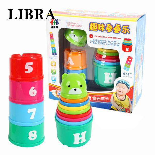 Non-Toxic Exploit IQ Toy Educational Baby Toddler Child Kid Stacking Cups 2019