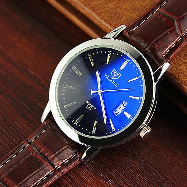 Đồng hồ nam Yazole T09 hiển thị Analog có lịch ngày dây da loại tốt