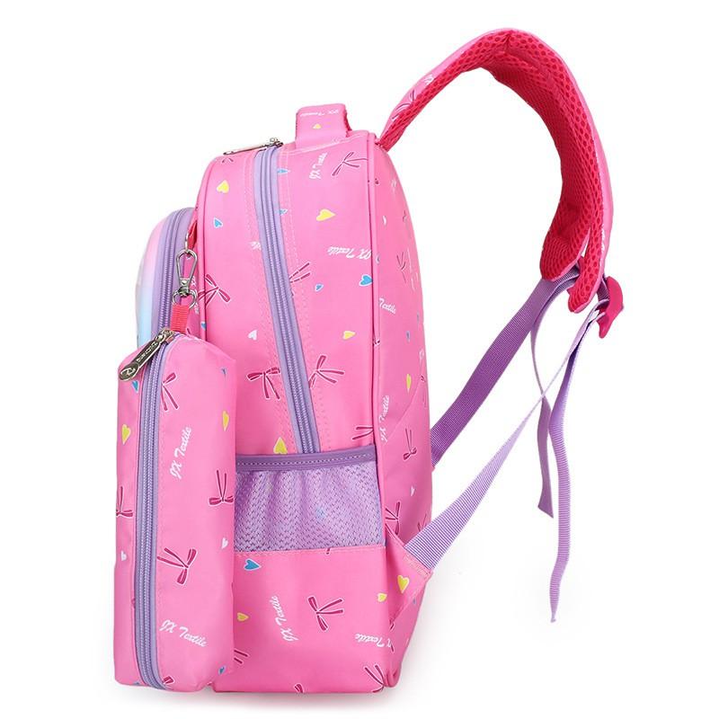 Balo tiểu học size lớp 1-3 cho bé hình công chúa Elsa in nổi ( hồng và tím)