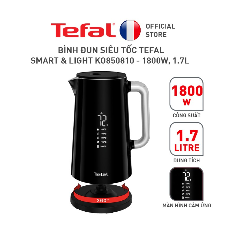 Bình đun siêu tốc Tefal Smart & Light KO850810 – 1800W, 1.7LGiảm ₫100k