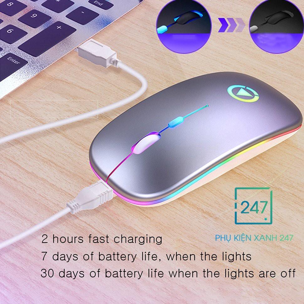 Chuột máy tính, chuột không dây đèn led, siêu chống ồn, chức năng 𝐏𝐈𝐍 𝐒𝐀̣𝐂, thiết kế mỏng nhẹ - BH 1 ĐỔI 1