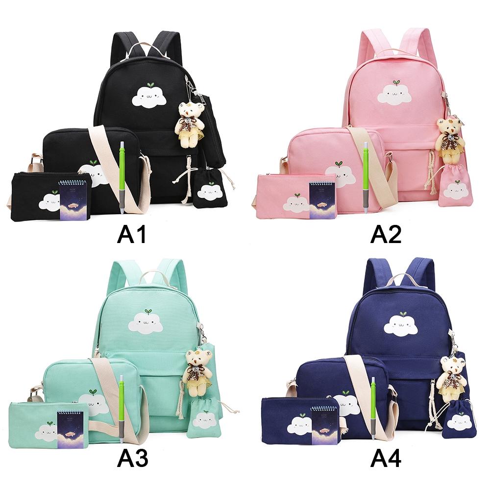 5 Pcs Cool Canvas Women Backpack Girl Large Book Laptop Bag Pencil Case