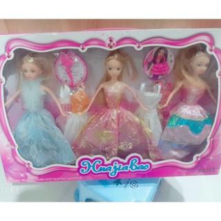 Bộ đồ chơi búp bê cho bé gái Huajialao với 3 cô công chúa xinh xắn – Hàng nhập khẩu