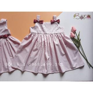 Váy thô kẻ, váy 2 dây cho bé gái, váy thiết kế