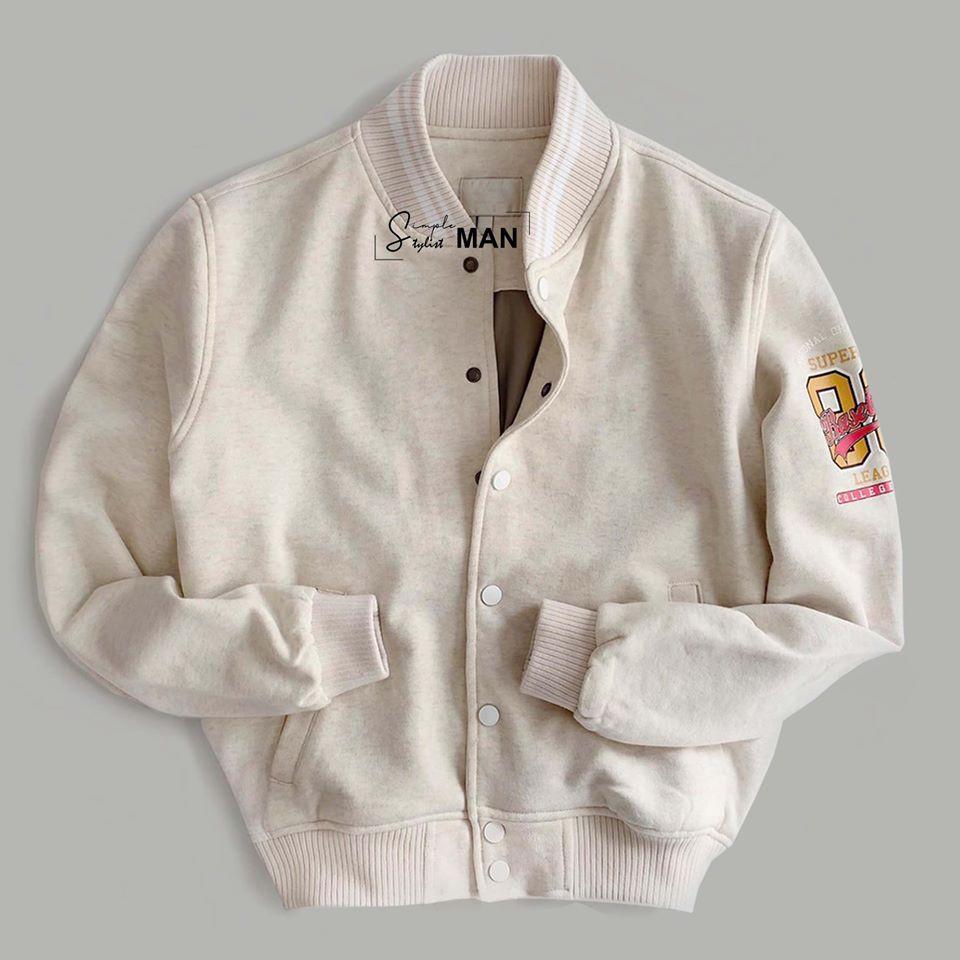 Áo khoác Bomber Jacket màu kem giữ nhiệt sang trọng hàng giới hạn