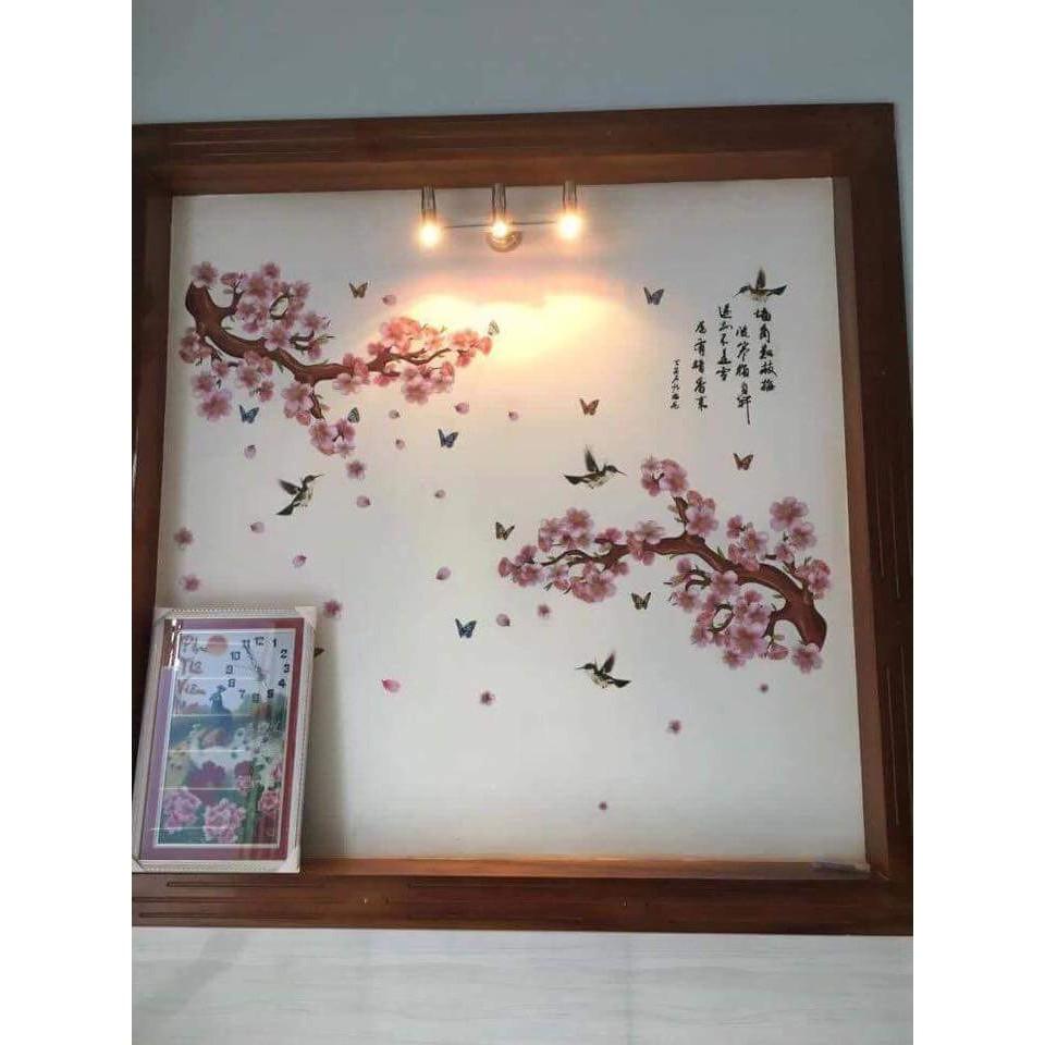 Decal dán tường hoa đào chim sẻ