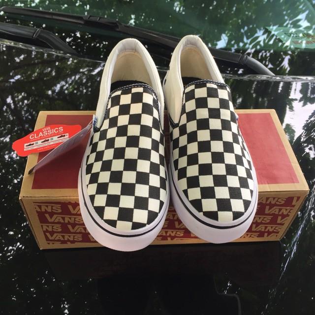 [FREE SHIP] Giày Vans lười Slip-On Checkerboard trắng đen