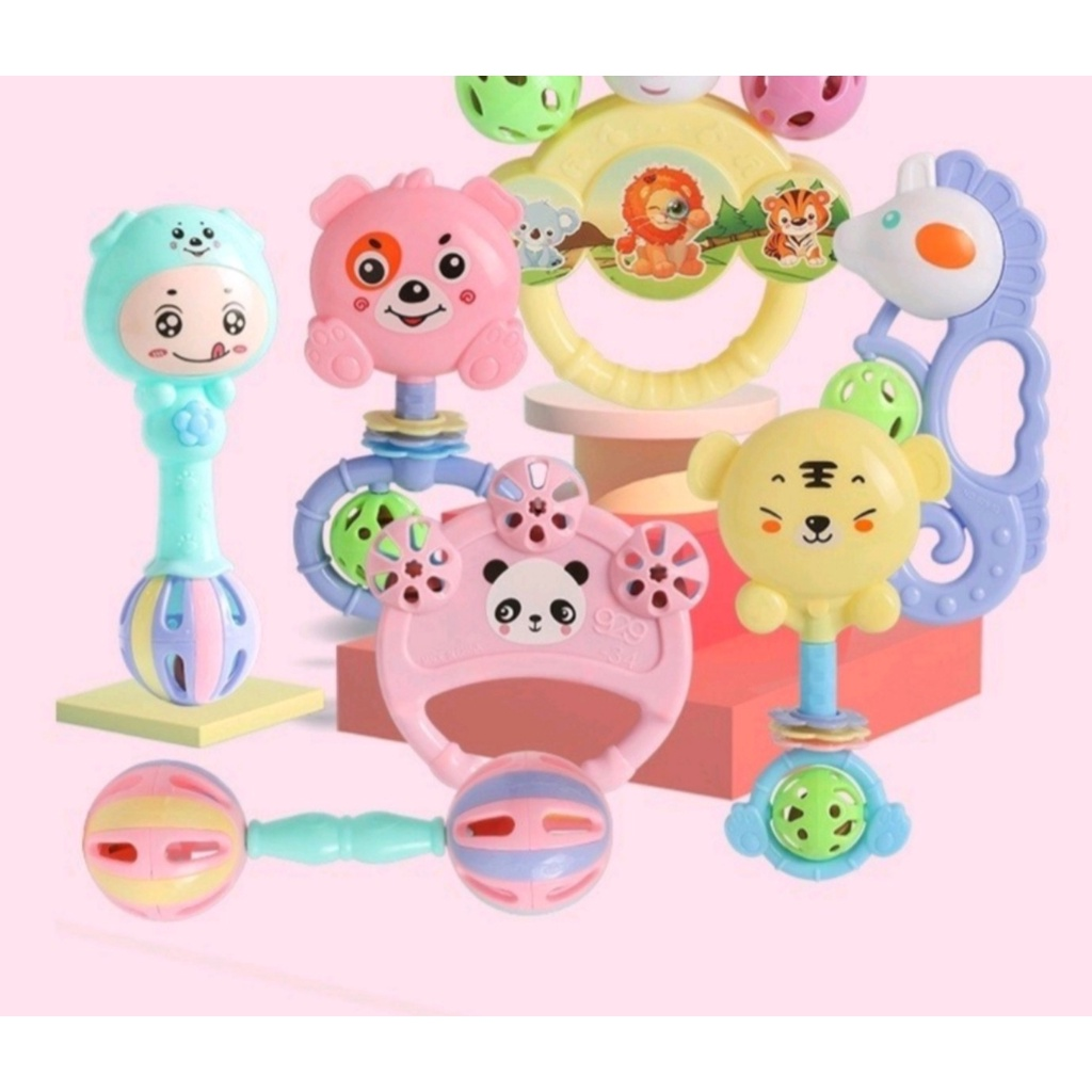 (Combo 7) Bộ đồ chơi 7 món xúc xắc lục lạc nhiều màu sắc cho bé