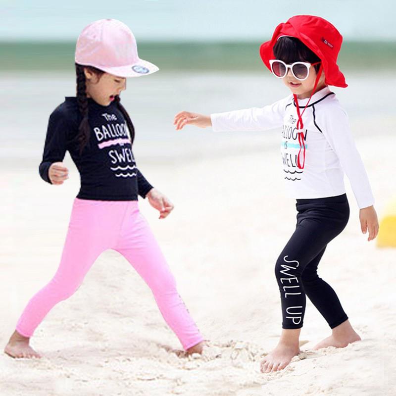 Đồ Bơi Trẻ Em - Áo Bơi Dài Tay Đen Kèm Quần Dài Hồng SPORTY SW2083