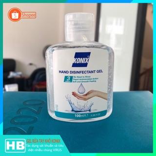 Gel rửa tay khô cao cấp KONIX (Hàng nhập khẩu Châu Âu) chai 100ml