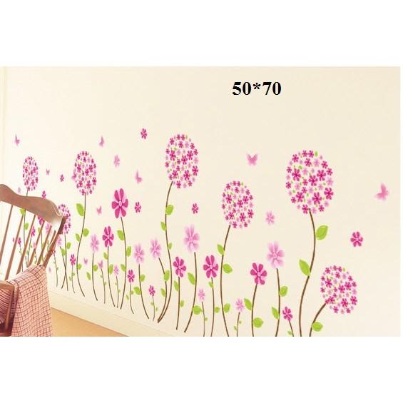 Decal dán tường cẩm tú cầu hồng
