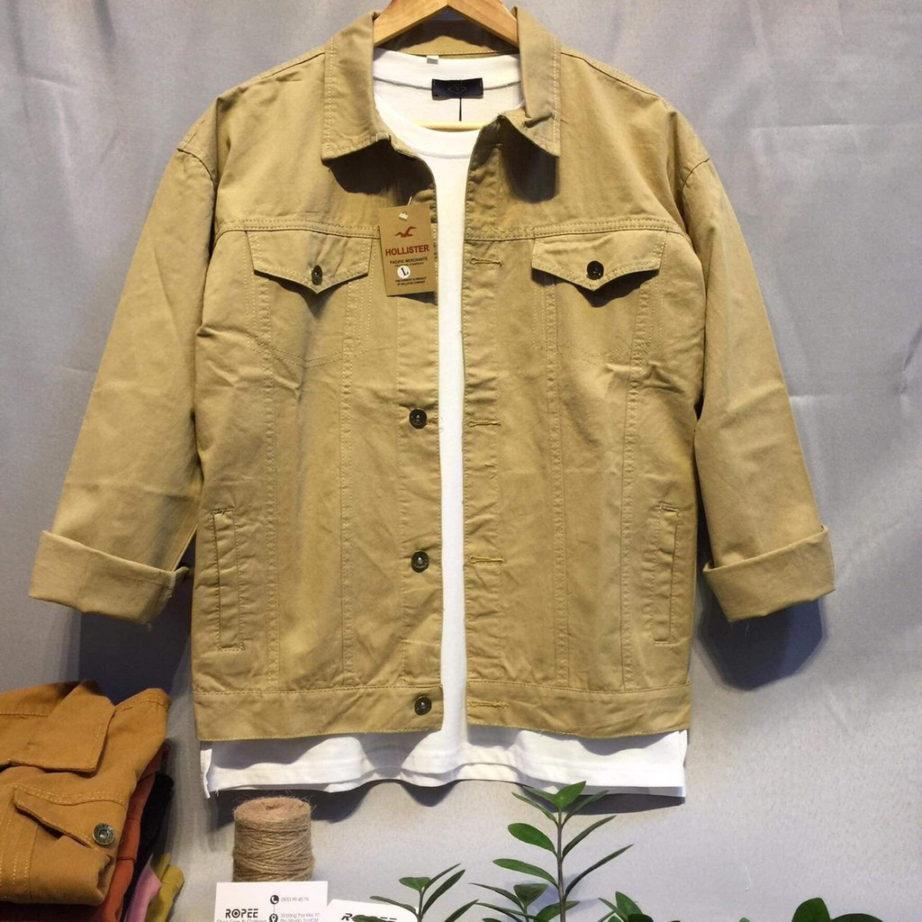 áo khoác kaki jean UNISEX Nam Nữ đều mang được - màu kem-phom rộng - ABC9