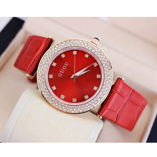 Đồng hồ dây da Guou S1169 nhiều màu + Tặng kèm vòng tay nữ xinh xắn