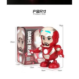 Iron Man Robot Có Mặt Nạ Mở Lên Xuống Mô Hình Siêu Anh Hùng Nhảy Lắc Theo Nhạc Phát Sáng Vui Nhộn.