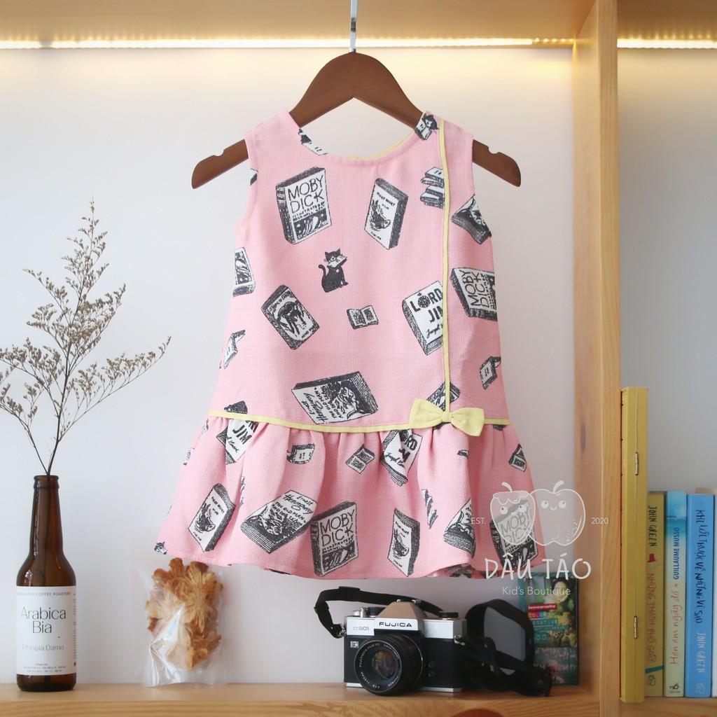 Đầm Linen Hoạ Tiết Cho Bé Gái - Size 8-22kg - Đổi trả trong 3 ngày