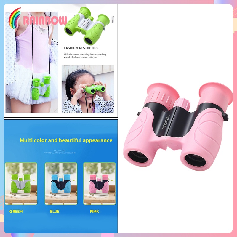 [RAINBOW] Portable 10x22 Optical HD Binoculars Telescope for Kids Camping Toys, Easy to Focus