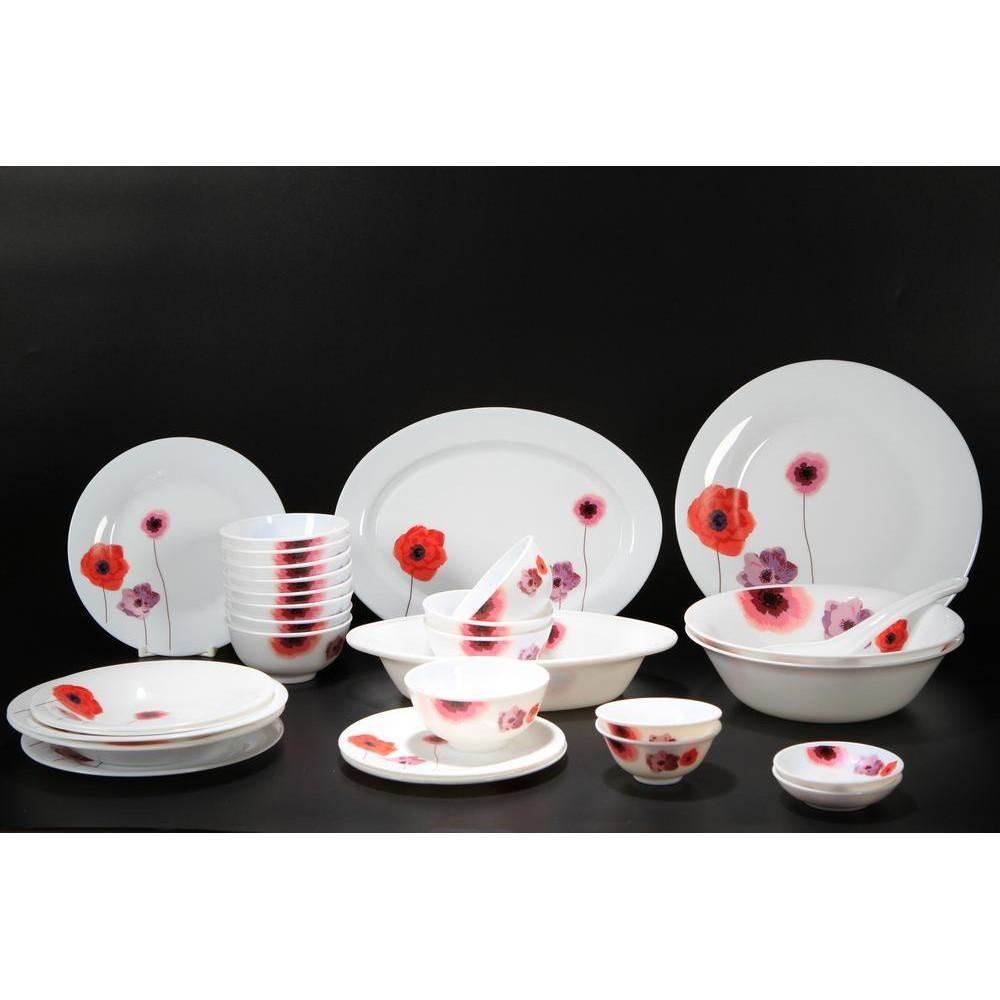 Bộ 30 món đồ dùng bàn ăn thủy tinh ngọc Vitriares 805-30T (Đỏ)