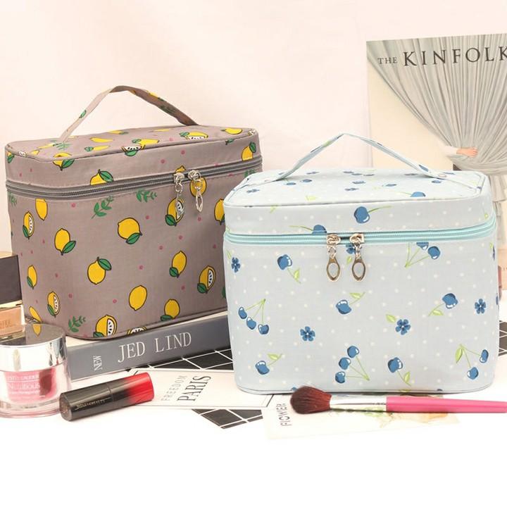Túi đựng mỹ phẩm đồ trang điểm xách tay hình hộp họa tiết bắt mắt (THH10)