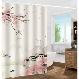 Rèm phòng tắm chất liệu polyester dày dặn chống thấm nước in họa tiết phong cảnh 160g / m2