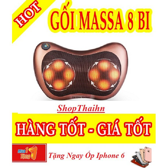 Gối massage hồng ngoại 8 bi Massage Pillow tặng ốp 3 mảnh iphone 6/6s