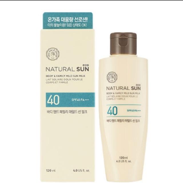 Kem chống nắng toàn thân Natural sun AQ body & family mild sun milk