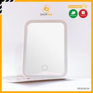 Gương soi trang điểm để bàn hình chữ nhât có đèn led cảm ứng kèm kính lúp SHOP10K – SP004534