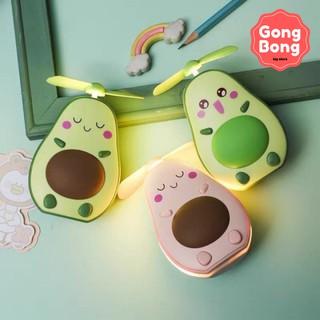 Quạt mini cầm tay quạt quả bơ có gương và đèn quạt cầm tay kèm cáp sạc USB Gong Bong store