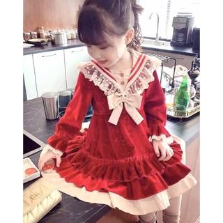 Váy nhung Noel lấp lánh kim sa cho bé mặc Noel và tết( hàng loại 1 dày đẹp)