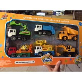 Đồ chơi sét 6 xe tải, máy xúc ( size to)
