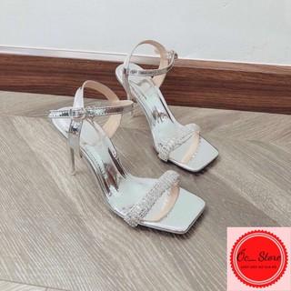 sandal đính đá, sandal hở gót, sandal gót nhọn 8-9cm