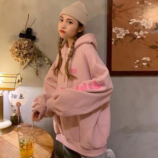 Áo hoodie Ulzzang nữ form rộng in chữ màu trắng hồng chất nỉ đẹp order quảng châu BST áo thu đông unisex Ulzzang 2020