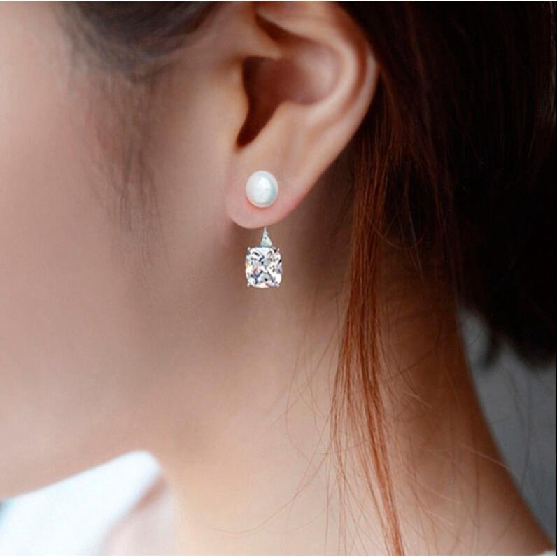 Hoa tai mạ bạc đính kim cương nhân tạo sang trọng cho nữ