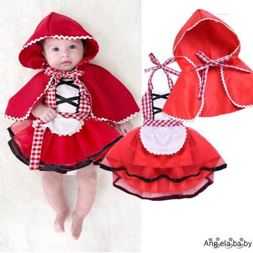 Bộ đầm + mũ dáng cô bé quàng khăn đỏ cho bé gái 0-24 tháng