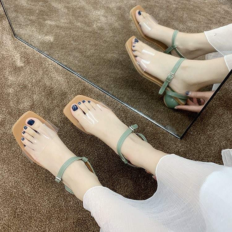 Sandals women's thick heels with transparent shoes with Roman shoes
