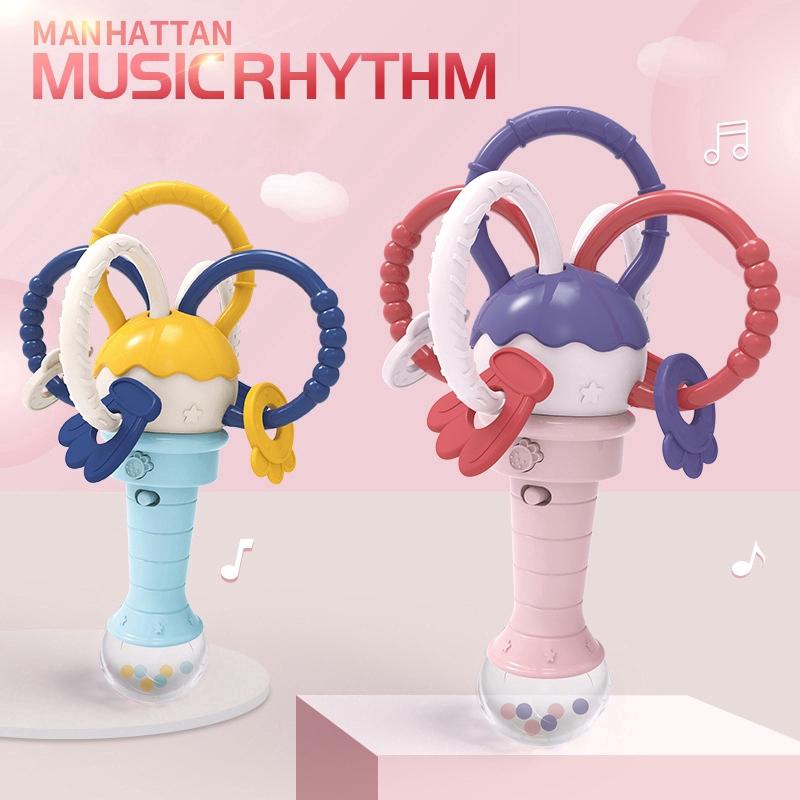 Manhattan Ball Rattle Stick Light Music Molar Stick Baby Toy Detachable
