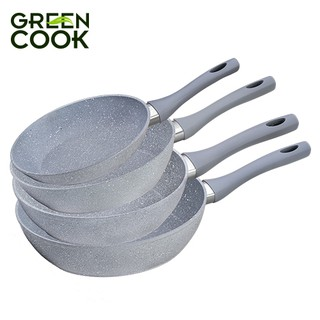 Hình ảnh Chảo đáy từ vân đá chống dính GREEN COOK 22 - 24 - 26 - 28 - 30 cm tay cầm chịu nhiệt - Hàng chính hãng-5