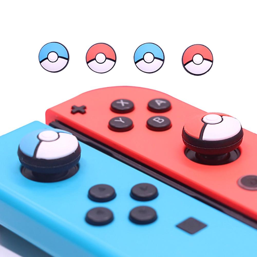 Bộ 2 đầu điều khiển bằng cao su chống trượt hình bóng Pokemon dành cho Nintendo Switch I20