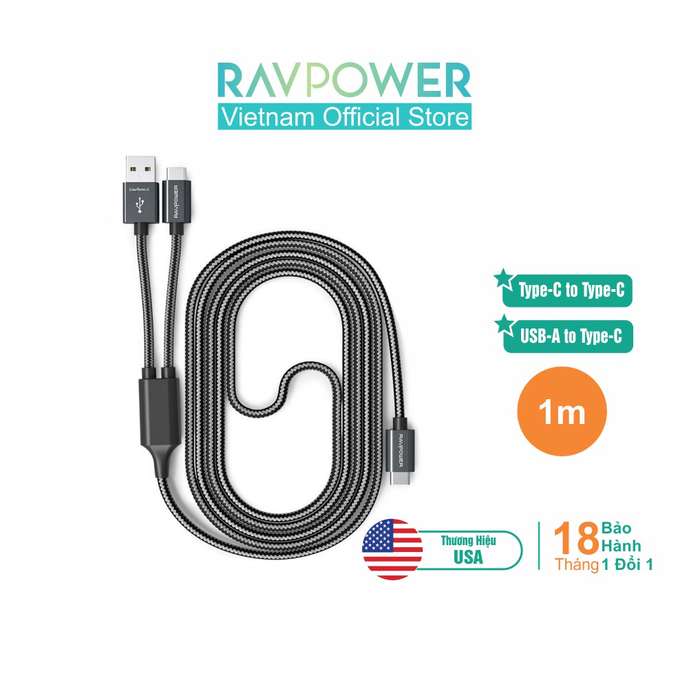 Dây Cáp Sạc và Kết nối RAVPower RP-TPC006, 2 trong 1, USB-A to USB-C và USB-C to USB-C - Hãng Phân Phối Chính T