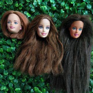 Set 3 đầu búp bê barbie đã sử dụng
