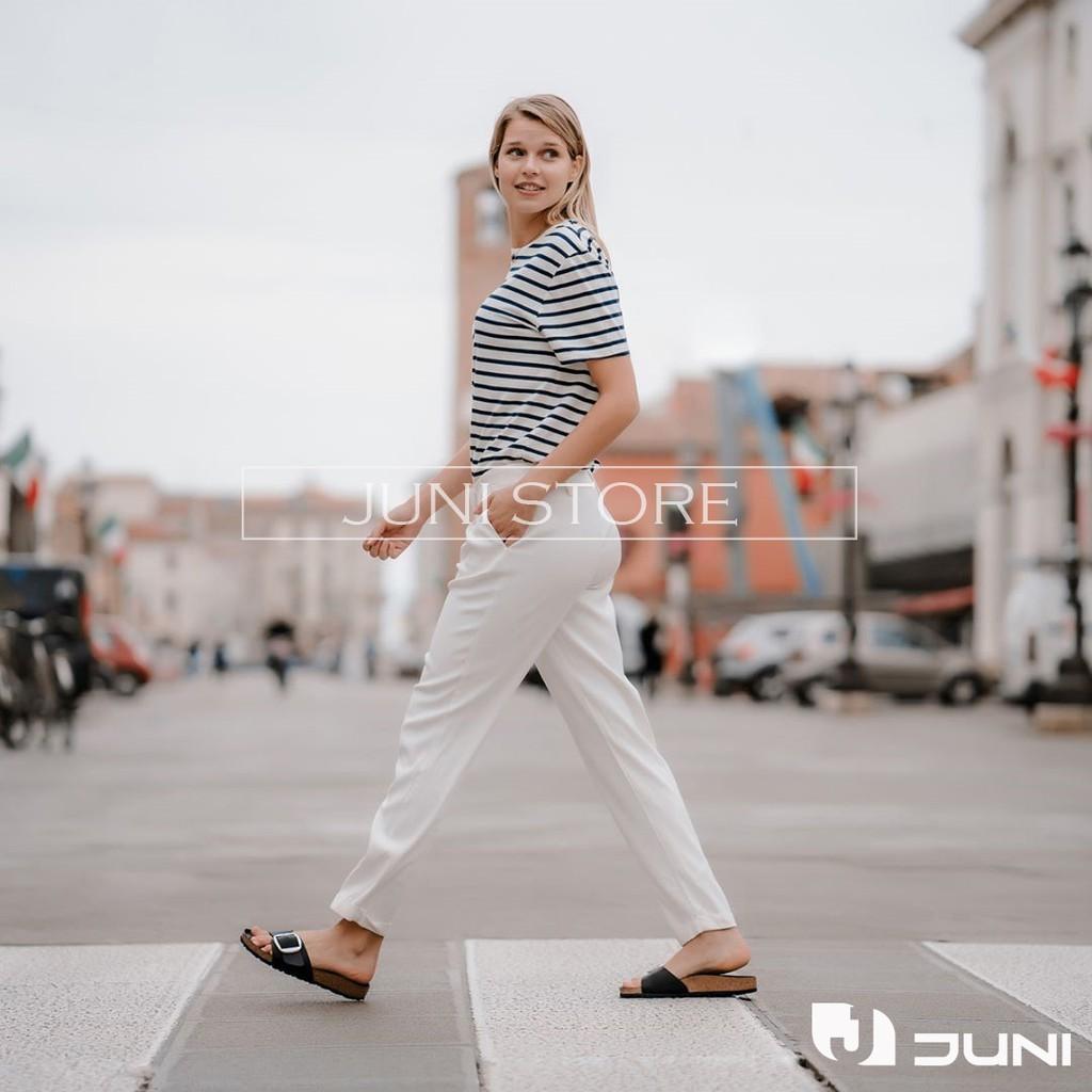 [DA BÒ THẬT] D08 - Dép da bò nam/nữ quai ngang Birken Bioline Unisex (Đế trấu) - Juni Store