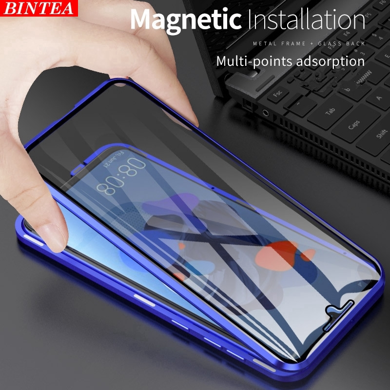 Huawei Y9 Prime 2019 Magnetic Front and Rear Tempered Glass Shell Metal Frame Protective Case