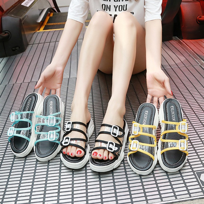Slippers female summer 2019 new Korean version of the wild transparent word drag flat wear outside non-slip thick-soled