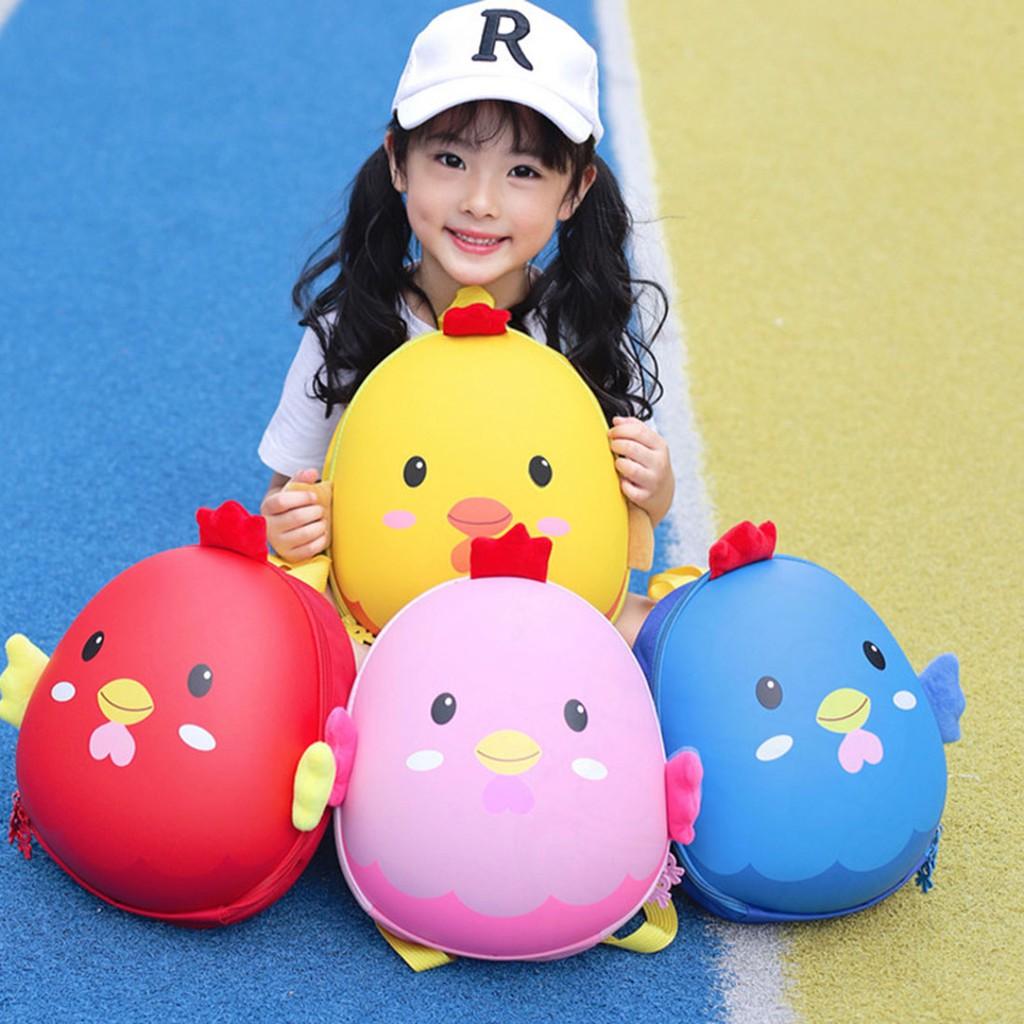 Balo mầm non cho bé, hình con vật, hình trứng gà, nhiều màu. Thích hợp cho cả bé trai và bé gái.