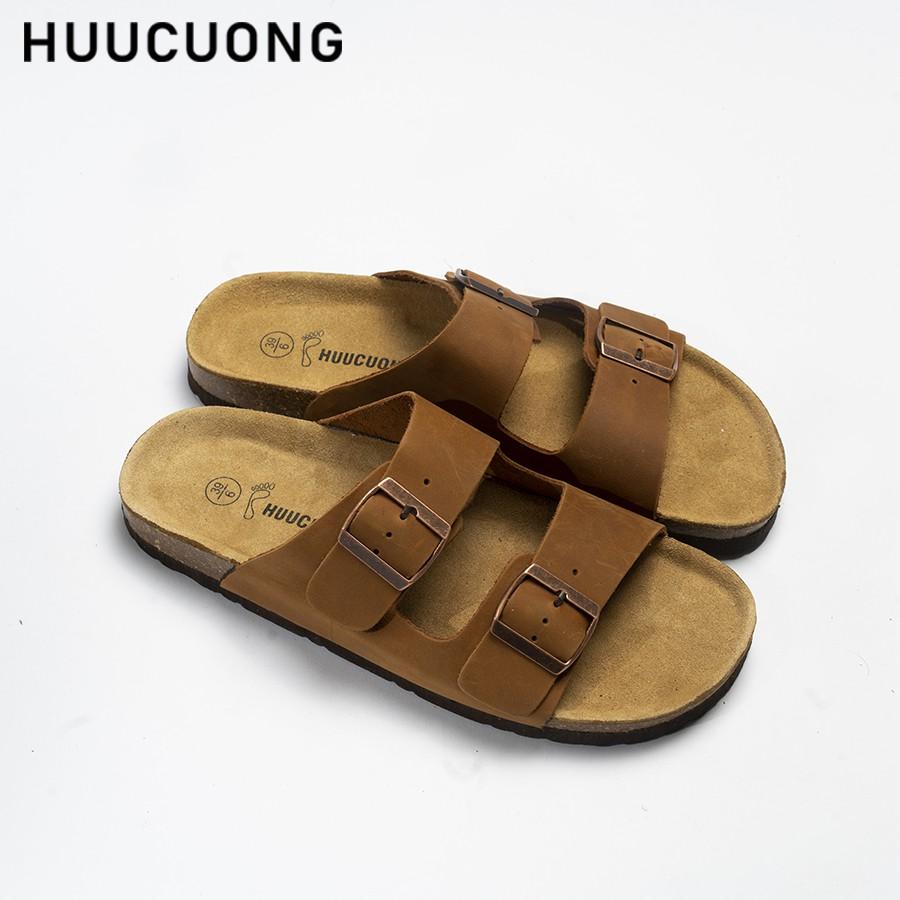 Dép HuuCuong 2 khóa Da Bò nâu đế trấu