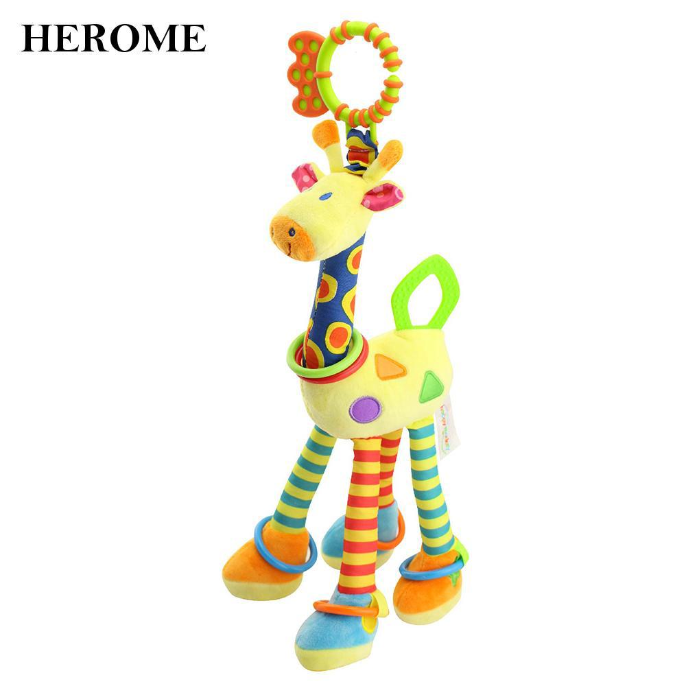 Lovely Soft Plush Giraffe Baby Toy Cute Bell Beep Bed Pram Stroller Economic
