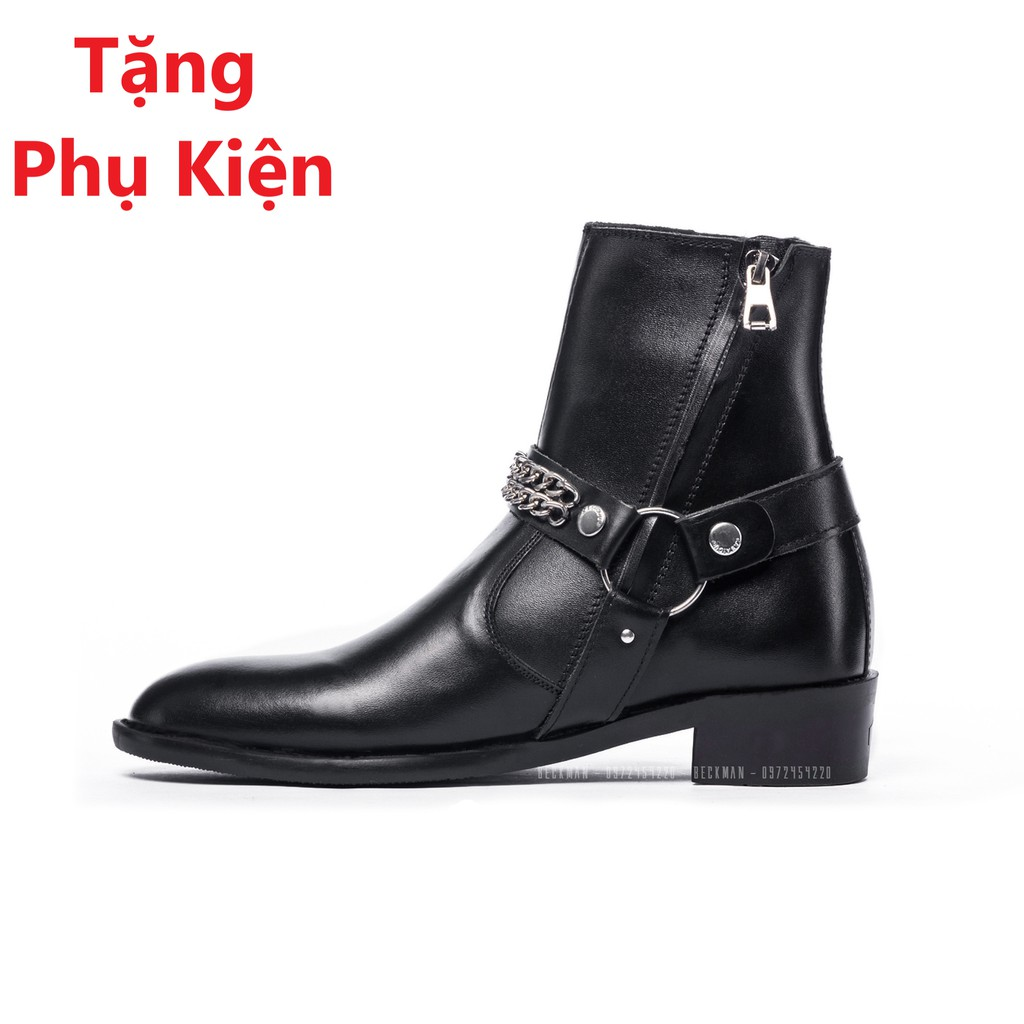 Giày nam Harness Boots Kiểu Dáng đường Phố Cao Cấp .Tặng Phụ Kiện